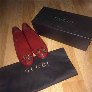 Authentic red Gucci flats
